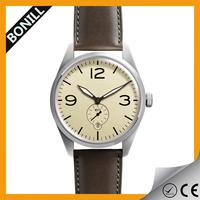 Best seller stainless steel custom logo design leather strap logo details quartz watches