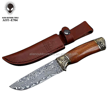 Fixed Blade Super Knife Handmade Damascus Hunting Knife