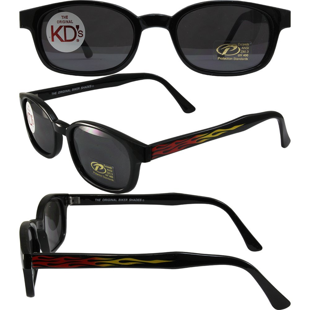 d2bfe184d865f Get Quotations · KD Original Flame KD s Black Frames W Flame Smoke Lens Polarized  Sunglasses Motorcycle Glasses With