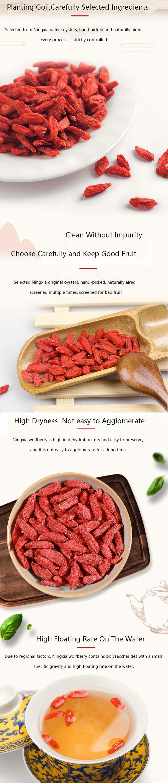Ningxia Bersertifikat Organik Goji Berry Kering Buah Baik untuk Kesehatan, Wolfberry/Goji/Buah Kering