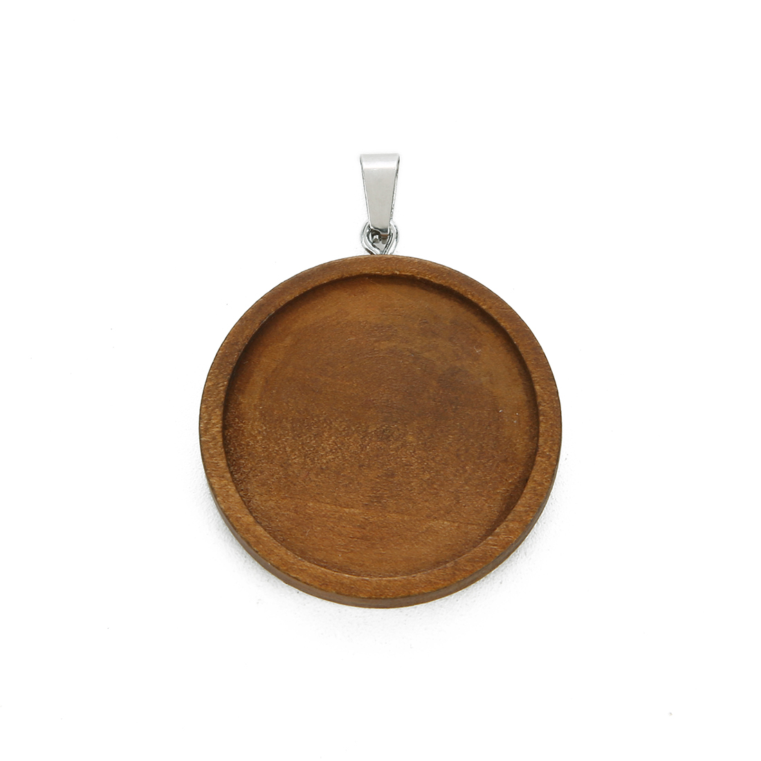 10 pcs Wooden Pendant Trays Round Cabochon Bases for Crafting DIY Jewelry Gift Making
