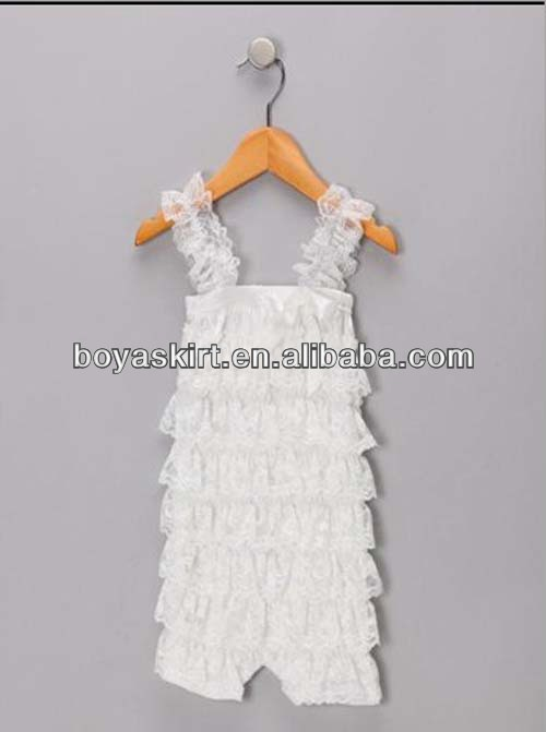 2014 latest high quality kids romper wholesale !solid color lace romper with straps for baby girls BY-0002