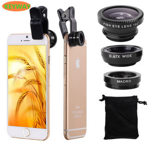 Hot 3 In 1 Mini Clip-on Optic Cell Phone Camera Lens Kit 235 Degree Fisheye Lens + 0.4x Wide Angle + 19x Macro Lens for Phones