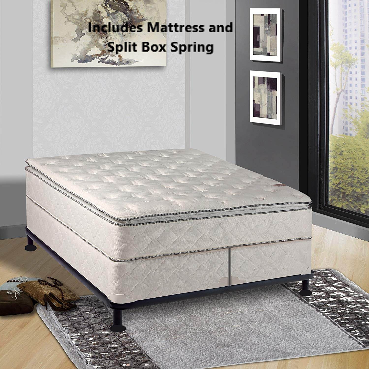"Mattress Solution, 301y-6/6-2S 10-Inch Medium 12 Plush Pillowtop Double-Sided Innerspring Mattress and 8"" Split Box Spring/Foundation Set, Princess Collection, King Size, White with black tape"