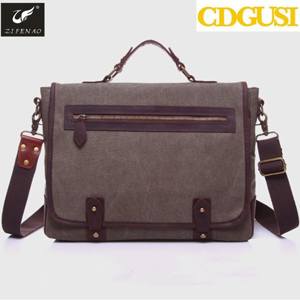 latest design men and women 100% genuine leather canvas handbags/bags/wallets/purses