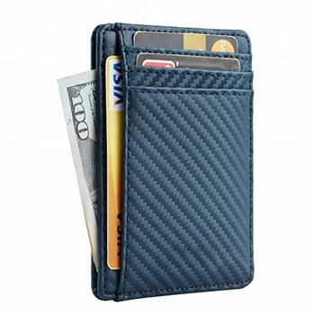 Thin Minimalist Rfid Blocking Slim Carbon Fiber PU Leather Card Holder Wallet