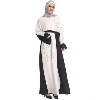 2019 female white classic stitching cardigan Muslim Arabic Robe Fashion Trend Design Islamic Clothing Abaya Button Ethnic Thobe