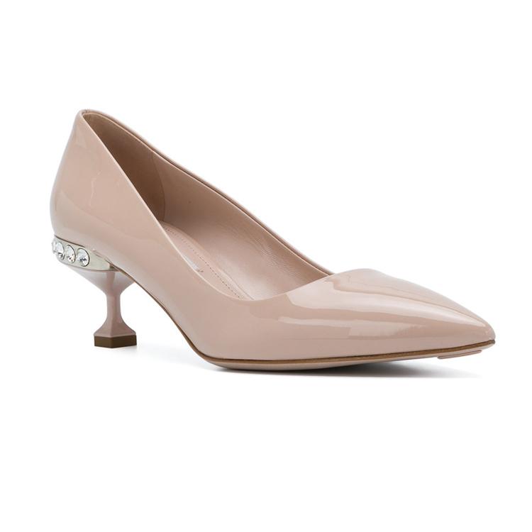 shoes pumps low Women heel embellished dress UZ1wnqw4Xx