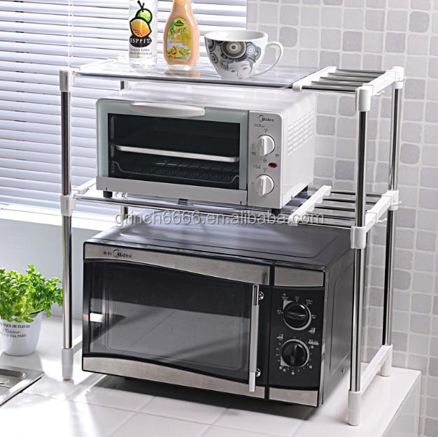 Ajustable de acero inoxidable horno microondas estante horno de microondas bastidores buy - Estante microondas ...