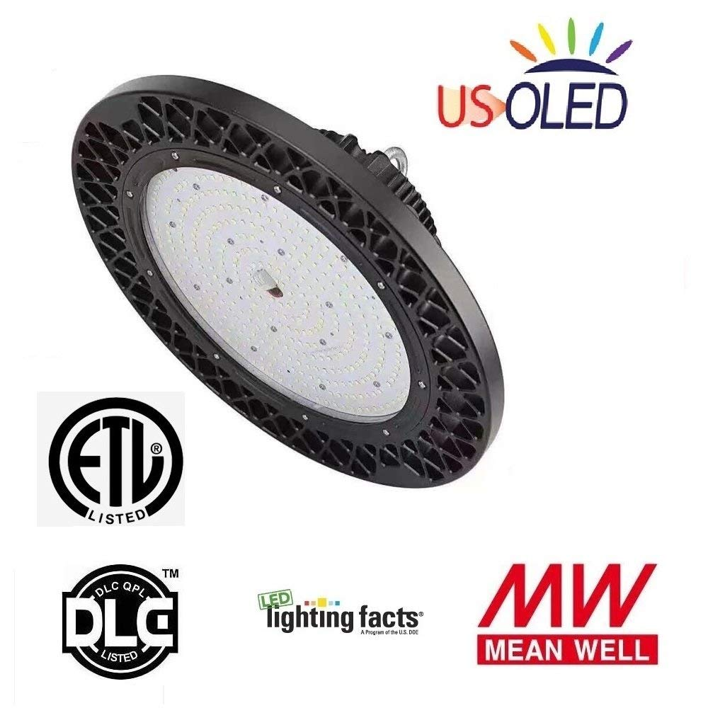 US OLED 150W LED Dimmable High Bay UFO Light Fixture,Lumiled LEDs,MeanWell Driver,138lm/W(Ultra Efficient),20780lm,5000K Daylight White,ETL DLC Listed,IP65 for Industrial Warehouse & High Bay Lighting