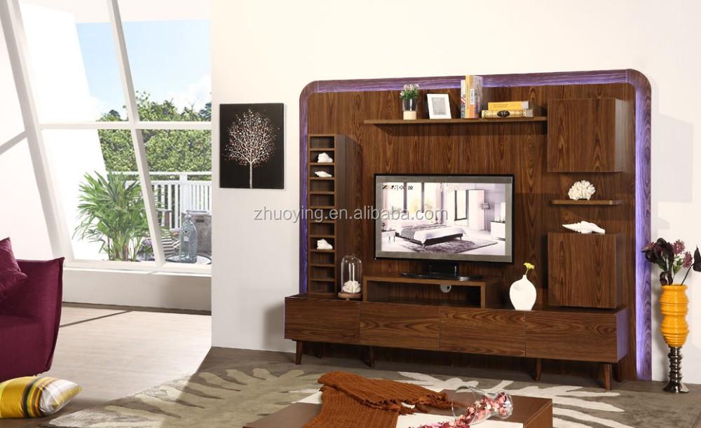 klassieke woonkamer meubels houten led tv stand met showcase
