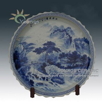 Unique Oriental Hand Maded 3 Feet Large Decorative Ceramic Plates With Stand