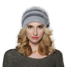 New Fashion stripe women angora wool knit beanie cap hat with mink flower decoration