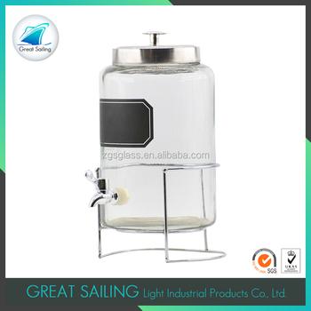 Gallon Glass Drink Dispenser With Metal Spigot