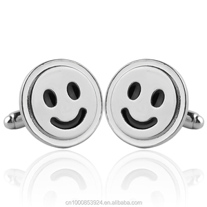 Smiley Symbol Cufflinks Silver Plated Smile Sign Cuff links for Men