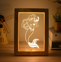 New Material Wood Abstract Illusion 3D Acrylic Led Night Table Lamp Light For Bedroom