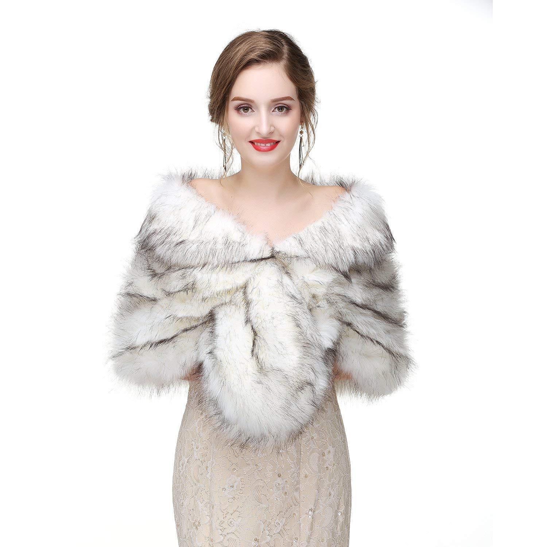 48cf104c339 Buy Vivimeng Women Faux Fox Fur Wraps Shawls Stoles Cape Shrug for ...