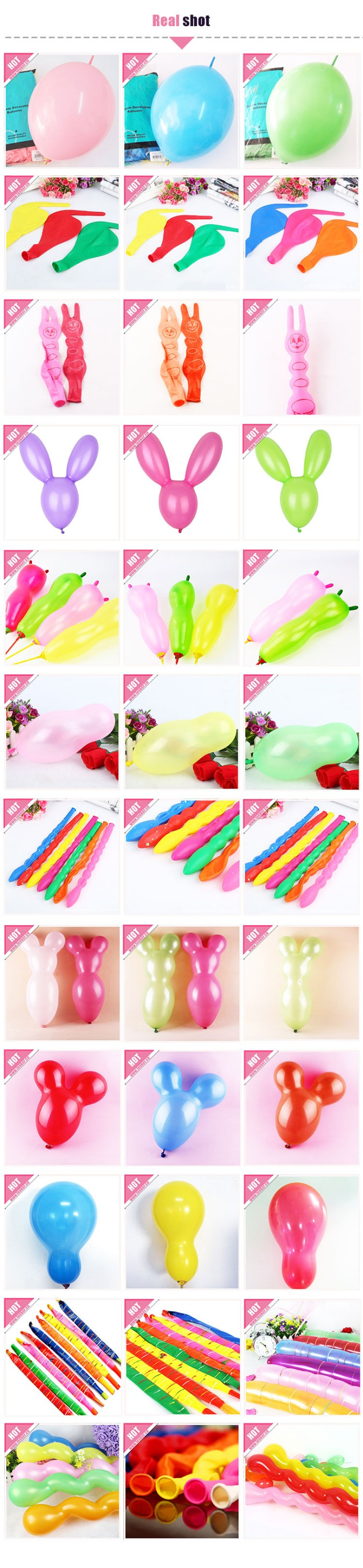 Cheap Different Custom Shaped Latex Long Balloons with Cat Ear Shape
