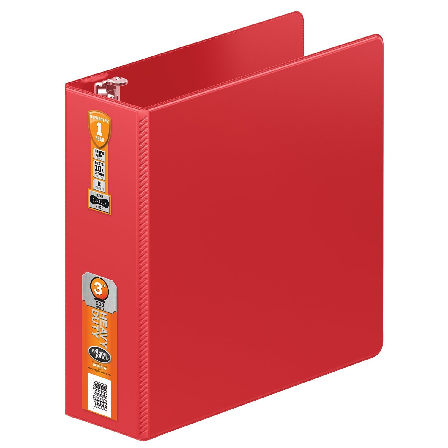 Wilson Jones Heavy Duty Round Ring Binder with Extra Durable Hinge, 3-Inch, Red (W364-49-1797)