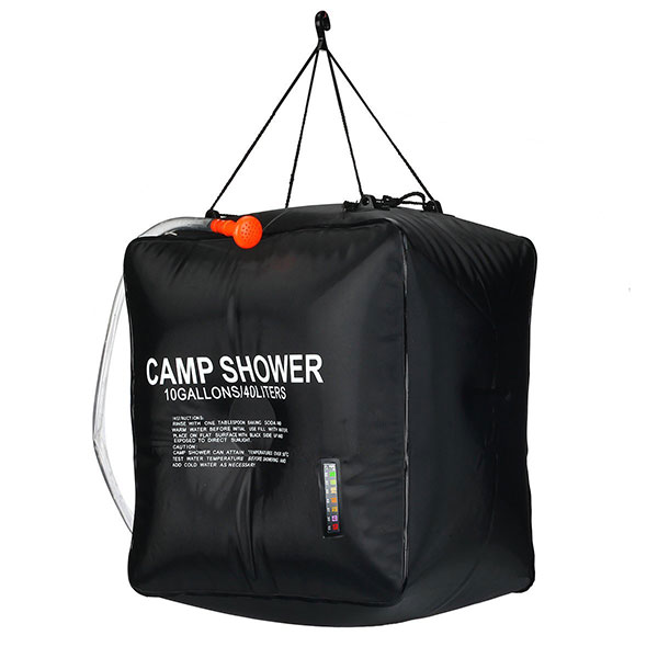 10 Gallons Solar Heating Camping Shower Bag with Temperature Hot Water