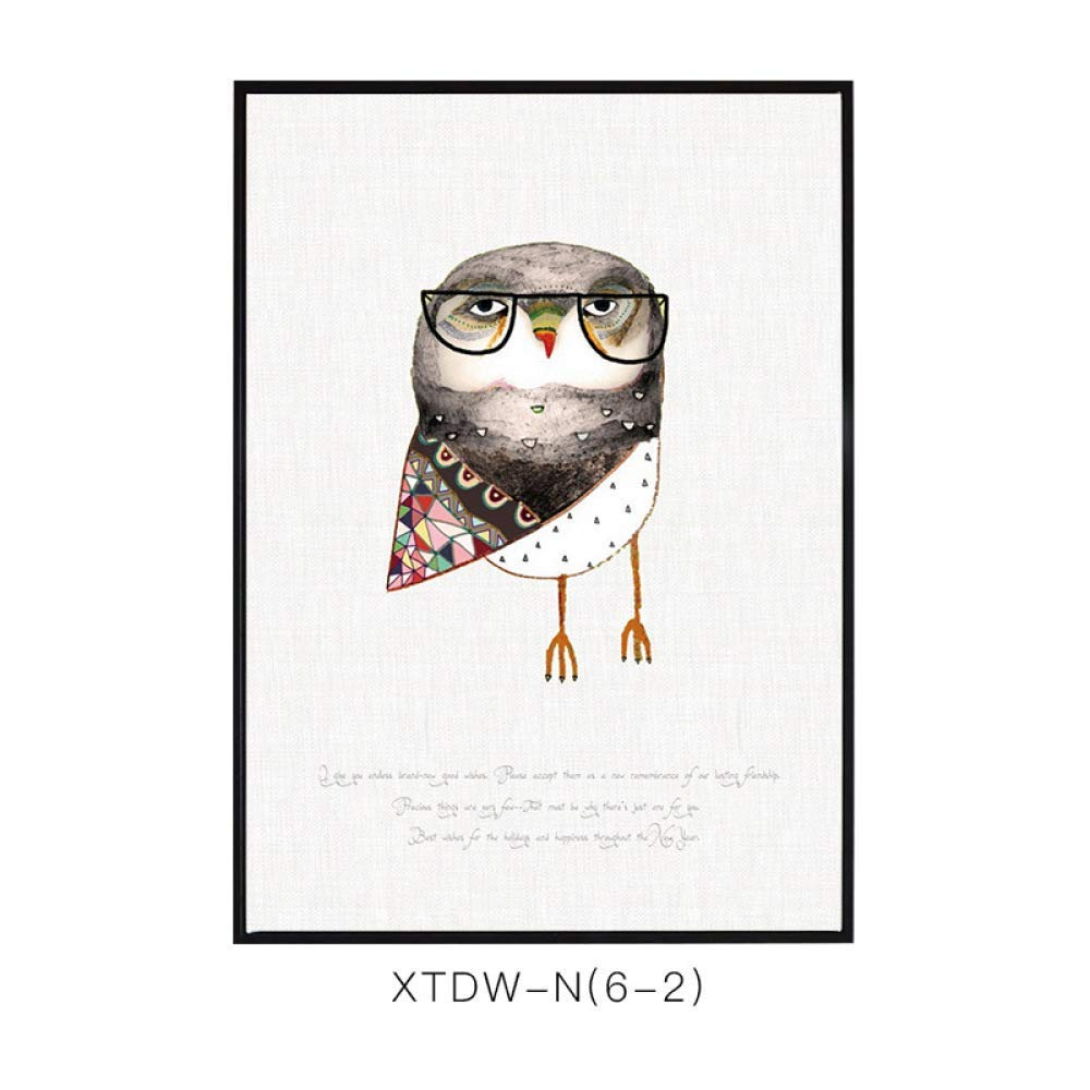 DEED Cute owl living room decorative painting, restaurant paintings, framed modern minimalist occlusion painting