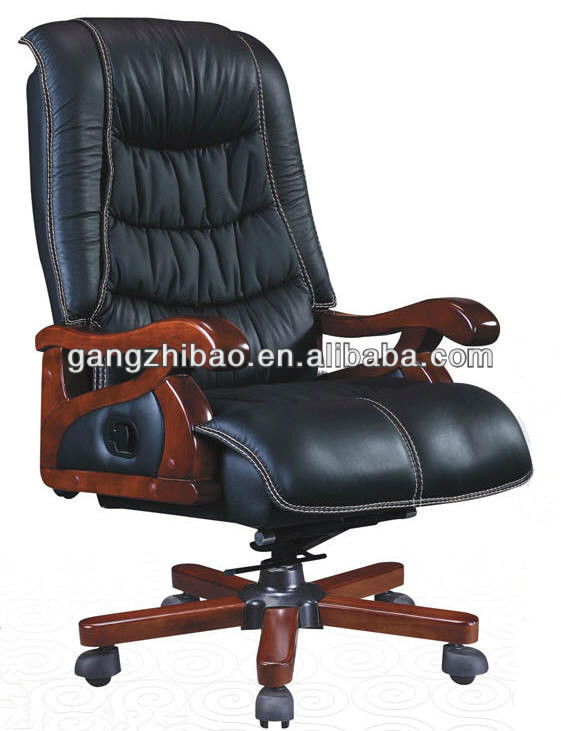 leather antique wood office chair, leather antique wood office