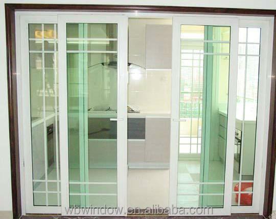 Energy Star Double Triple Insulating Glass Plastic Vinyl Sliding Doors With Grills Interior