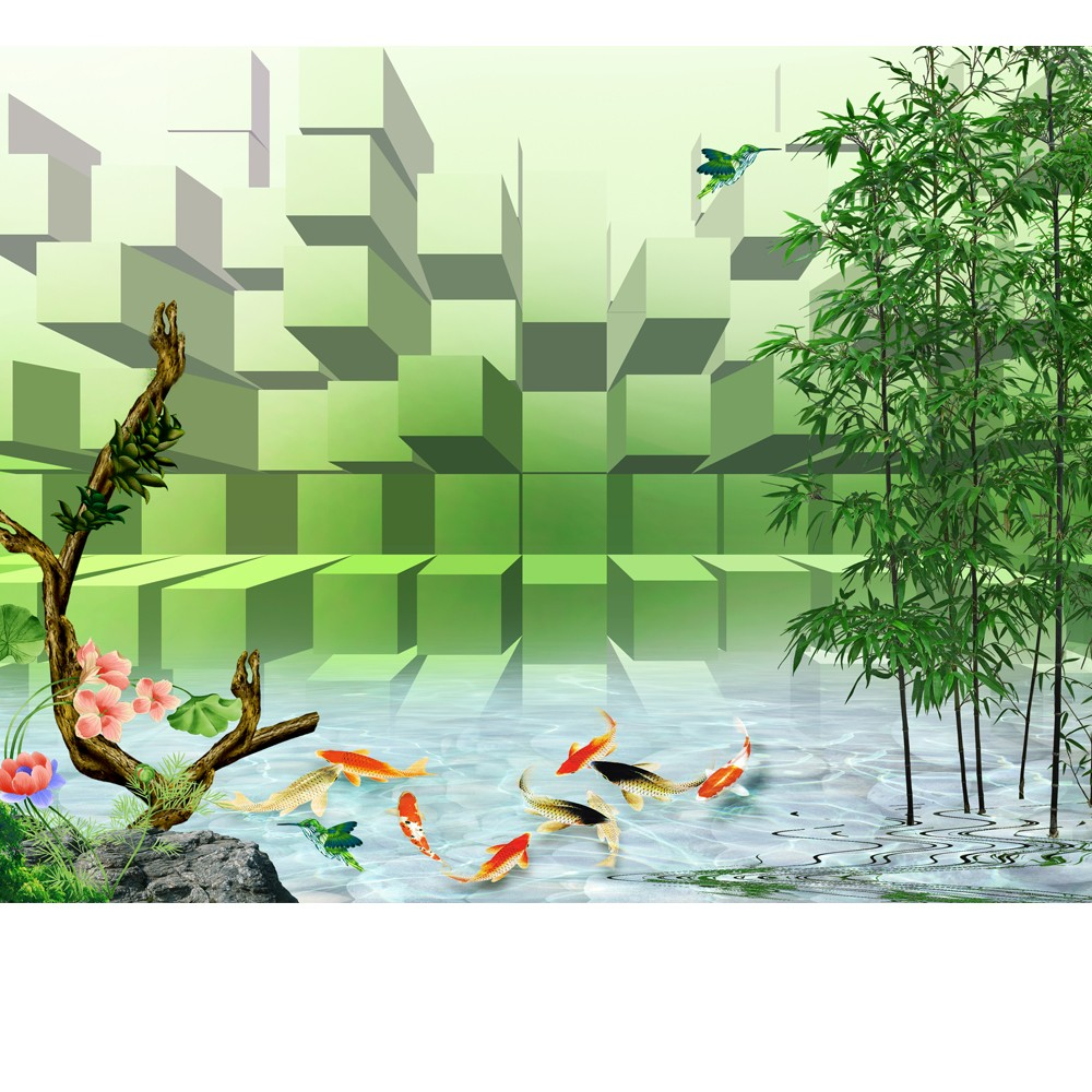 Fantasy forest landscape design wallpaper printing murals for Bamboo mural wallpaper