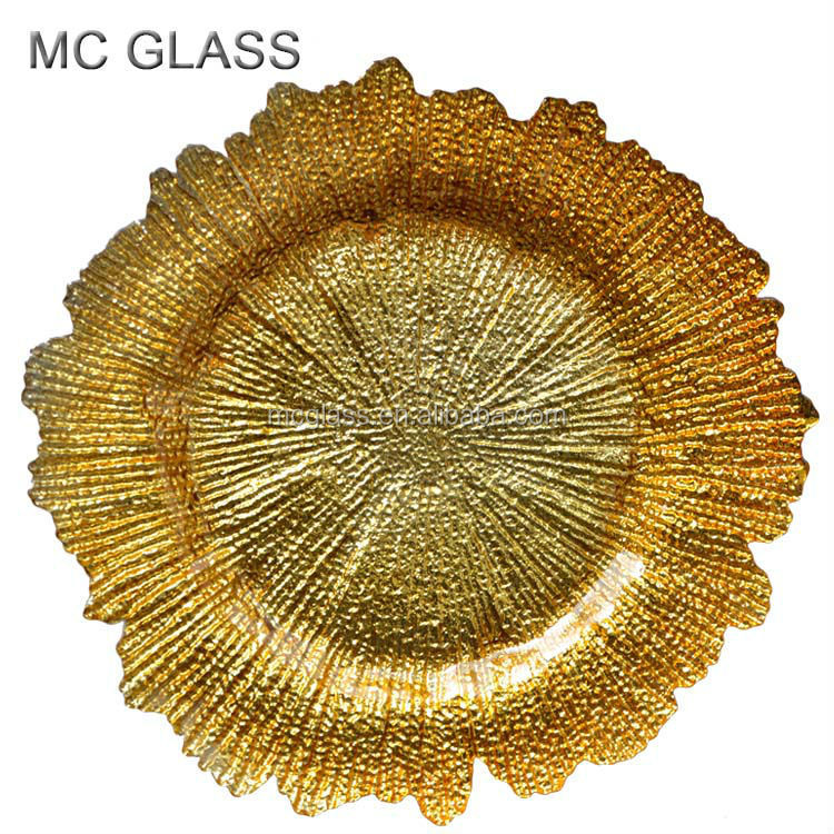 Wholesale Dishes Gold Silver Fancy Glass Wedding Charger Plates for Hotel and Restaurants