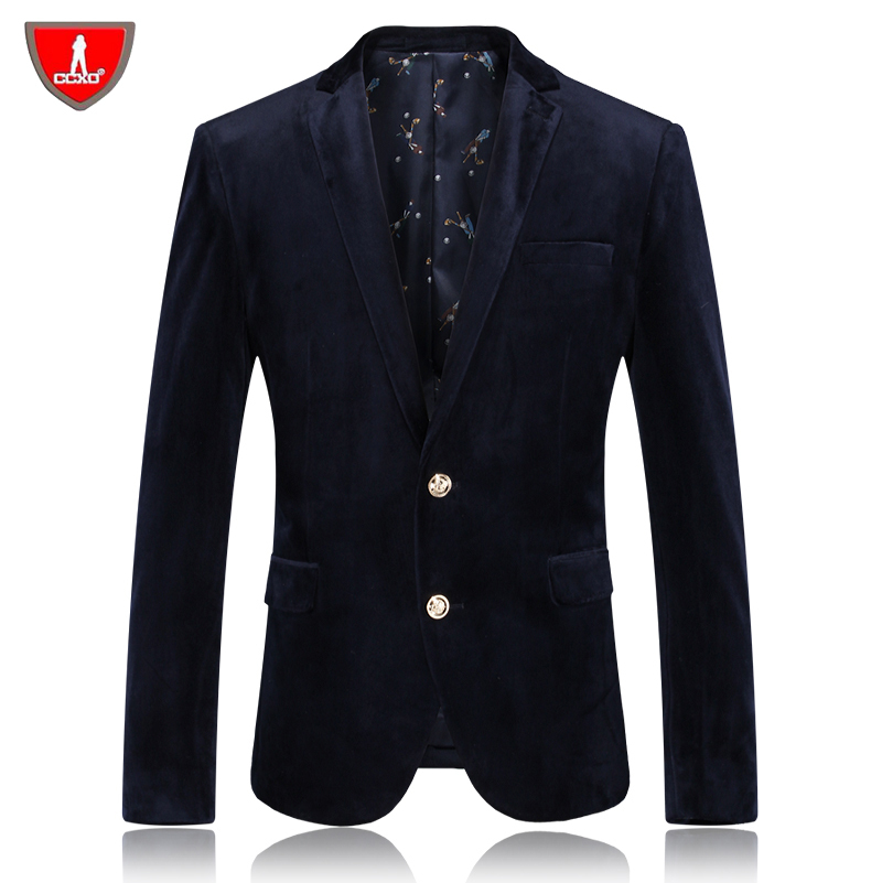 Gold velvet Men Suit Blazer 2015 New Arrival High Quality Jackets For Men M-4XL Mens Slim Fashion Brand Casual Blazer Masculino