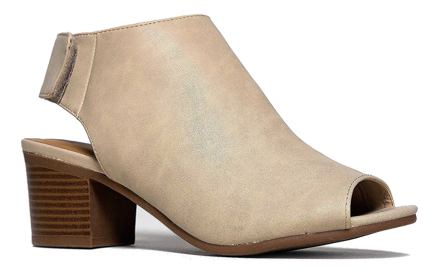 e6ef334917d Get Quotations · J. Adams Peep Toe Bootie - Low Stacked Heel - Open Toe  Ankle Boot Cutout