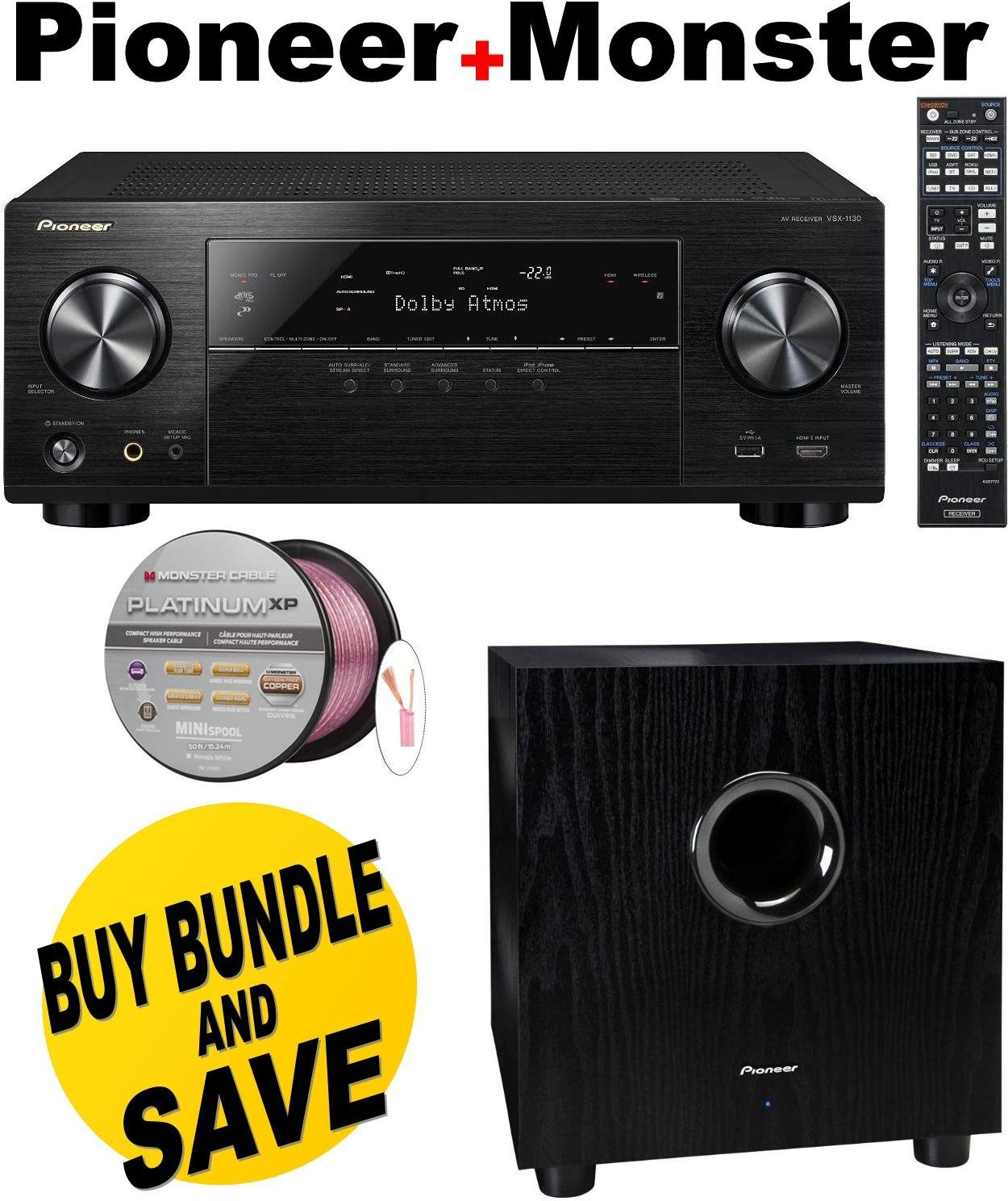 Pioneer VSX-1130-K 7.2-Channel AV Receiver with Built-In Bluetooth and Wi-Fi (Black) + Pioneer SW-8MK2 Andrew Jones Designed 100-Watt Powered Subwoofer Bundle