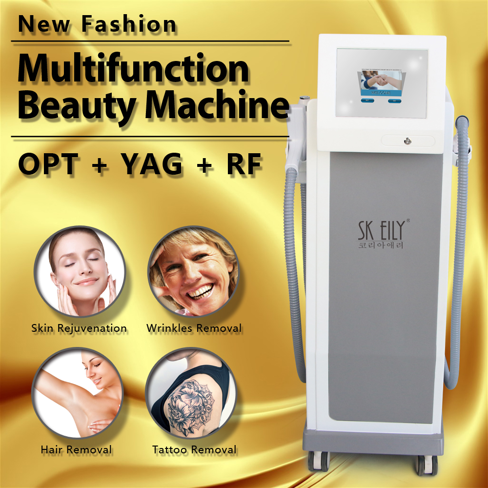 Multifunctional ipl + rf + e light + nd yag laser intelligent skin lift hair removal machine