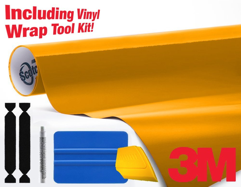 3M 1080 Gloss Sunflower Yellow Air-Release Vinyl Wrap Roll Including Toolkit (20ft x 5ft)