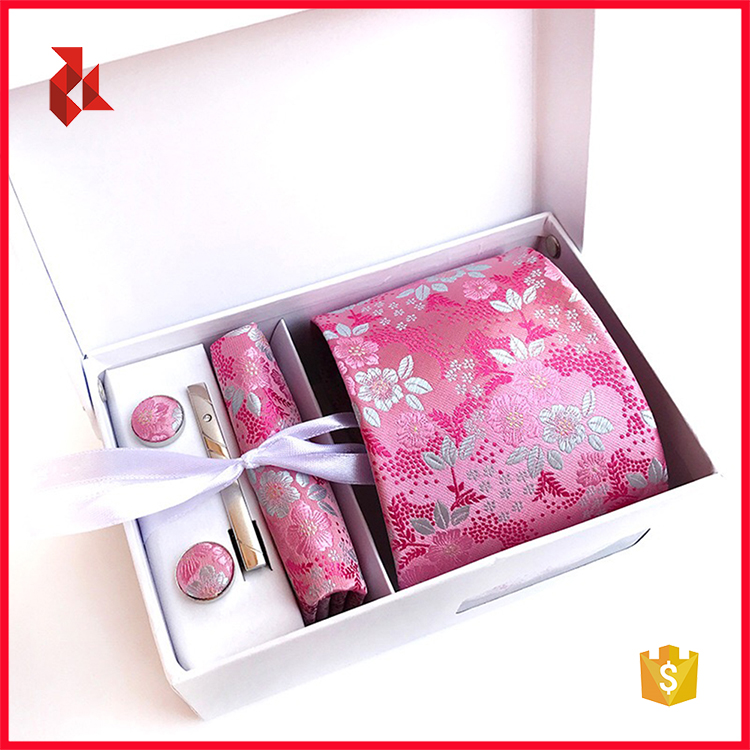 Wholesale Custom Floral Necktie Set Box with Tie Clips