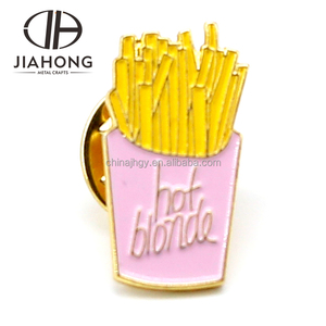 New french fries shaped gold plated custom gift badge