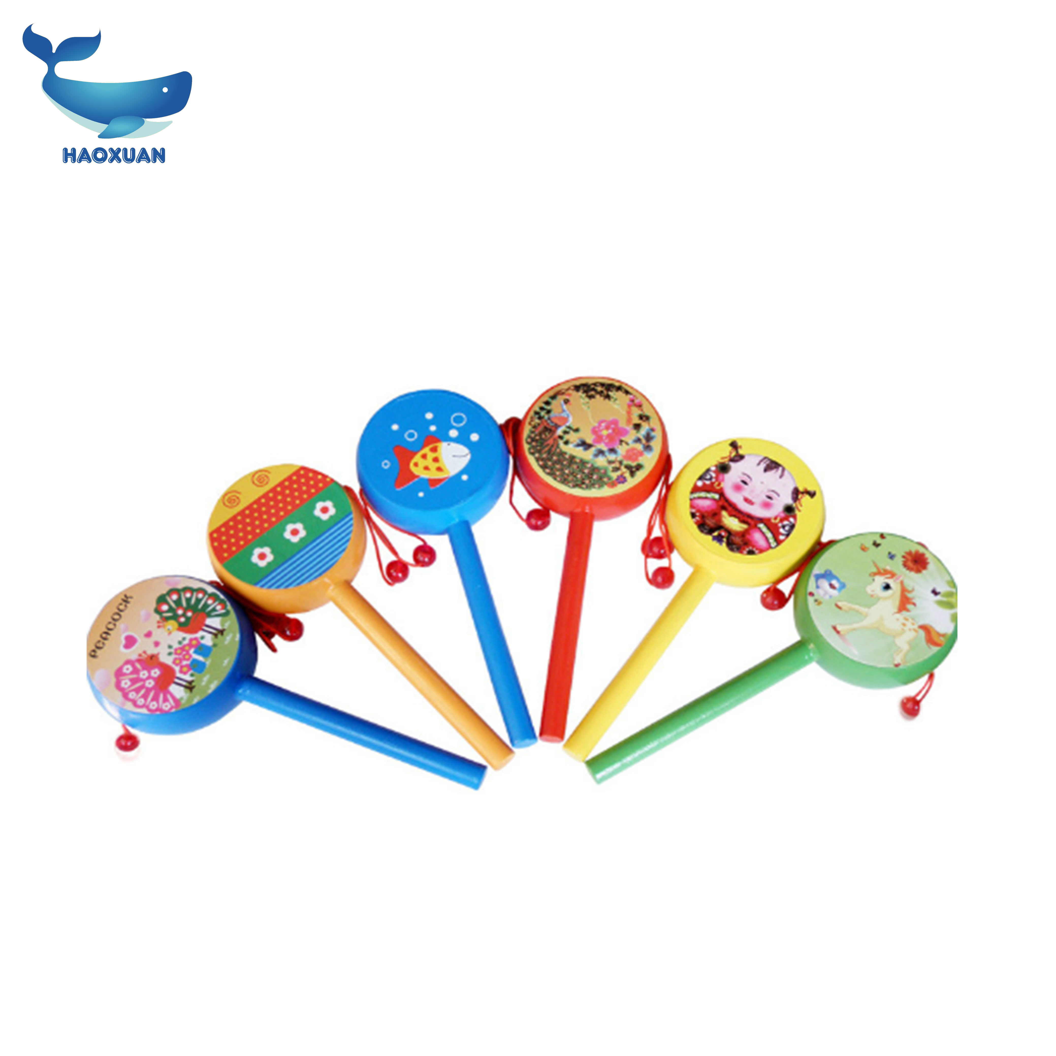 2018 New wholesale colorful wood cartoon baby rattle drum <strong>toy</strong>