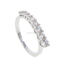 silver sparking cz diamond circle unique design 2018 fashion long cz bar ring