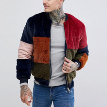 두꺼운 men <span class=keywords><strong>블루종</strong></span> <span class=keywords><strong>겨울</strong></span> zip 체결 faux fur jacket in color block