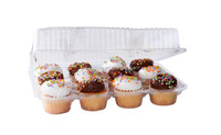 Clear Plastic Hinged PET Cupcake Takeout Container 12 Compartments