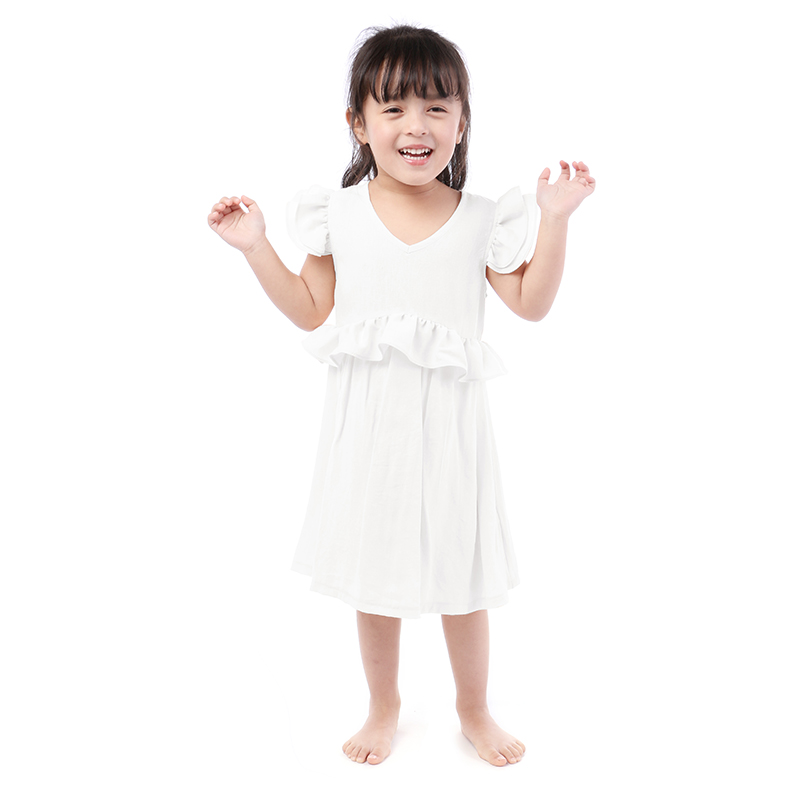 2019 Latest Product Flutter Sleeve Boutique Clothes White V-neck Baby Girl Dress Casual Dress