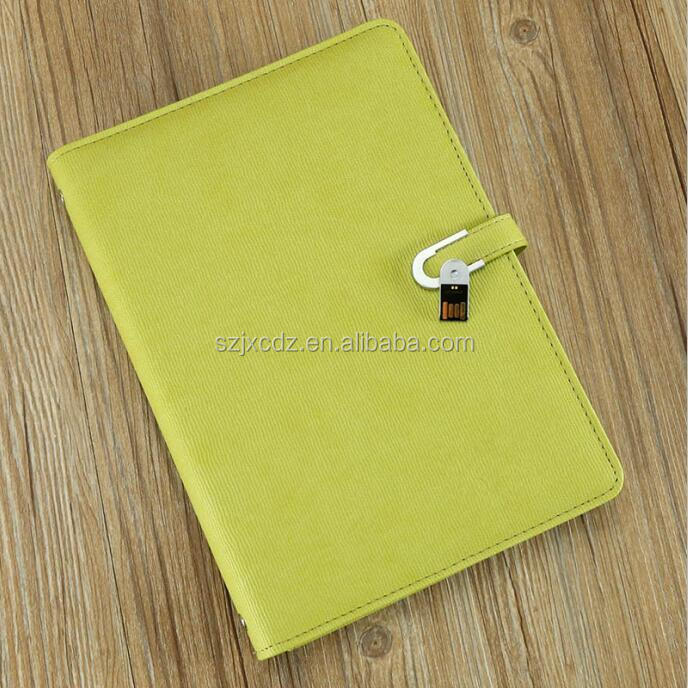 Business Gift a5 leather ring binder notebook with powerbank and USB flash memory