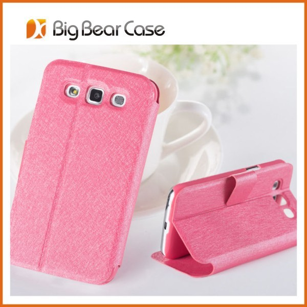 Silk texture leather cover for galaxy vin samsung i8552 case