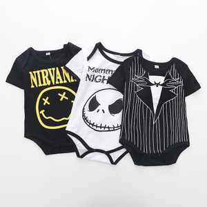 2018 Summer new personality thin gentleman jumpsuit grimace triangle newborn romper