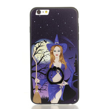 Black Witch PC Plate TPU Bumper Phone Case for iPhone 7 , for iPhone 8 Christmas Pumpkin Case Phone Cover