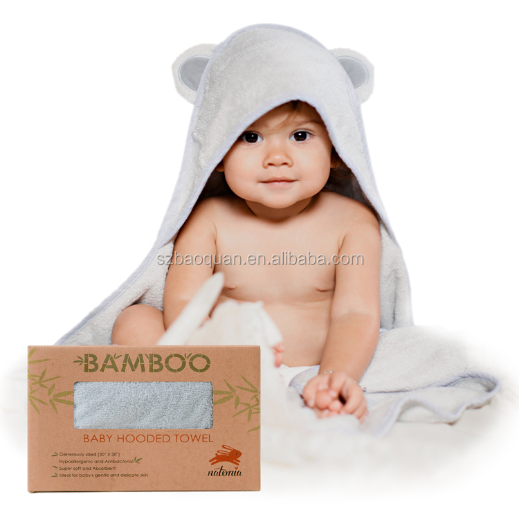 100% Bamboo Fiber Baby hooded Towel/ Plain White Color Kids hooded towel