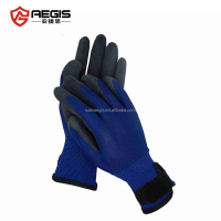 Nylon liner knitted foam black latex coated work out gloves