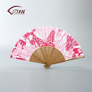 Cherry blossom fan bamboo product nice quality silk folding hand fan with bamboo handle hand fan
