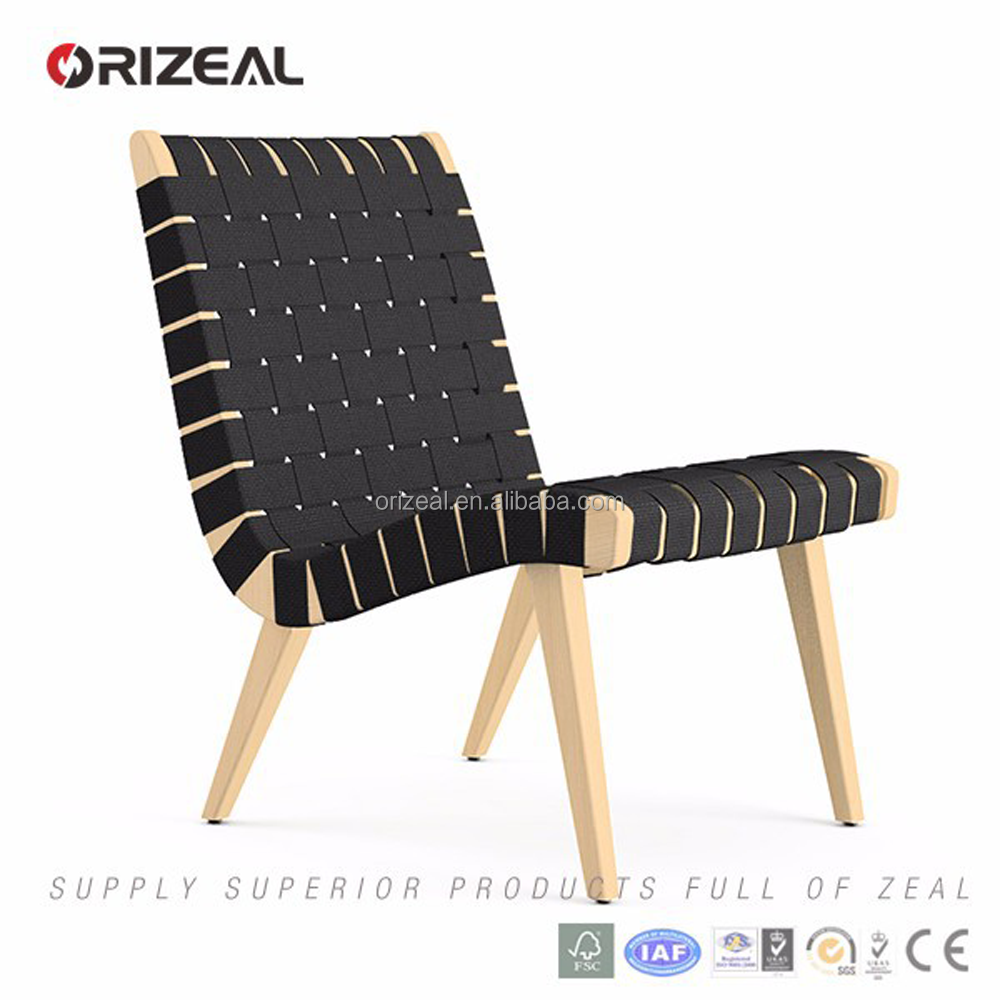Replica wood leisure chair Risom side bandage lounge chair Save money