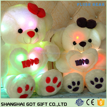 50cm Soft LED Colorful Glowing Teddy Bear Doll Stuffed Plush Toy Pillow Kid Gift